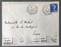 France N°1011B Sur Enveloppe - TAD CROISEUR-ECOLE-JEANNE-D'ARC 29.10.1957 - (C2008) - Postmark Collection (Covers)