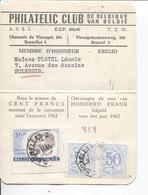 REF2065/ TP 1180 Surtaxe-1027A(2) S/Carte De Membre Philatelic Club De Belgique De 100 Frs C.BXL 28/11/61 > Sclessin - Belgium