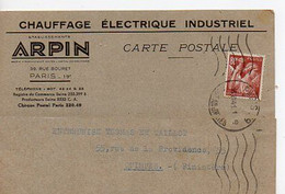E 12 1941 Lettre/carte Entete  Chauffage A Paris - Postmark Collection (Covers)