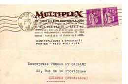 E 12 1940 Lettre/carte Entete  Compagnie De Bois Contreplaqués A Paris - Postmark Collection (Covers)