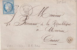 "FRANCE : GC 3260 . "" SAIGNES "" . (14) . N° 60 . BOITE MOBILE DE YDES . 1874 . - 1849-1876: Periodo Classico"