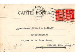 E 12 1941 Lettre/carte Entete  Guilliet  A Auxerre - Postmark Collection (Covers)