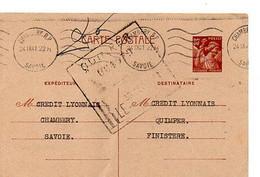 E 12 1941 Lettre/carte Entete  Crédit Lyonnais  A Chambéry - Postmark Collection (Covers)