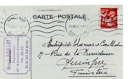 E 12 1941 Lettre/carte Entete  Représentant A Rennes - Postmark Collection (Covers)