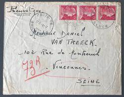 France N°1011 (x3) Sur Enveloppe Par PNEUMATIQUE 15.7.1955 - (C2017) - Postmark Collection (Covers)