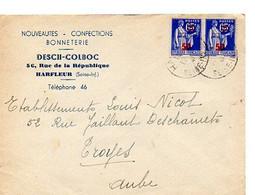 E 12 1941 Lettre/carte Entete  Bonneterie A Harfleur - Postmark Collection (Covers)