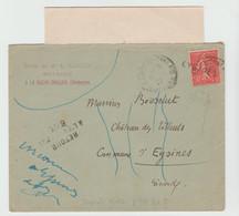 """GIRONDE: """" EYSINES """", Griffe D'Annulation En Arrivée / LAC De La Roche Chalais De 1927 - Postmark Collection (Covers)"""