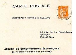 E 12  1940 Lettre/carte Entete Constructions électriques à Rochefort En Yvelines - Postmark Collection (Covers)