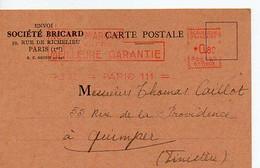 E 12  1941 Lettre/carte Entete Société Bricard à Paris - Postmark Collection (Covers)