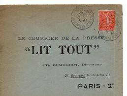 E 12  1923 Lettre/carte Entete Le Courrier De La Presse à Paris  Défaut Au Dos (traces De Collage) - Postmark Collection (Covers)