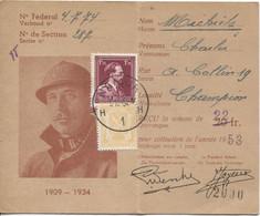 REF2069/ TP 831-710 S/Carte De Membre Vétérans Du Roi Albert Section Namur 22 Frs C.Namur 5/12/52 > Champion - Covers & Documents