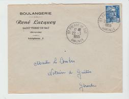 GIRONDE: R. LARQUEY, Boulangerie à St PIERRE DE BAT, CàD Type B6 / LSC De 1955 Pour Guitres - Postmark Collection (Covers)