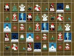 Denmark,  Local Christmas Seals; Kolding 1987;  Full Sheet.  MNH (**) Not Folded. - Rotary, Lions Club
