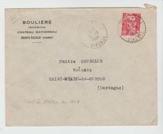 GIRONDE: BOULIERE, CHATEAU MATHEREAU à St EULELIE, CàD B6 / LSC De 1948 Pour St Méard - Postmark Collection (Covers)