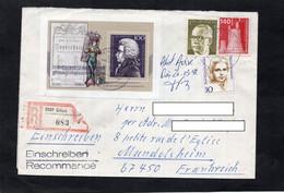 LSC Recommandé ERFURT- Timbre Wolfgang Amadeus MOZART  YT 1403 & YT 1191 & YT 705 & YT 516 - Storia Postale