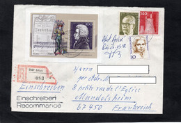 LSC Recommandé ERFURT- Timbre Wolfgang Amadeus MOZART  YT 1403 & YT 1191 & YT 705 & YT 516 - Briefe U. Dokumente