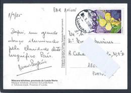 Postal De Angola Com Stamp De Cassia Occidentalis Circulado Em 1985. Postal Com Máscara Tchkwe, Lunda-norte. - Angola