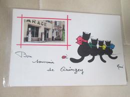 Bon Souvenir De Quingey . Garage Et Pompe A Essence . 4  Chats - Andere Gemeenten