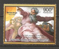 REP. CENTROAFRICANA - 2013 MICHELANGELO La Creazione (Cappella Sistina, Vaticano) Nuovo** MNH - Religione