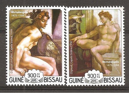GUINEA-BISSAU - 2015 MICHELANGELO Ignudi (Cappella Sistina, Vaticano) Nuovo** MNH - Religieux