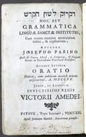 Settecentina - Lingua Ebraica - Grammatica Linguae Sanctae Institutio - 1721 - Boeken, Tijdschriften, Stripverhalen