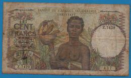 BANQUE DE L'AFRIQUE OCCIDENTALE 100 FRANCS 29.6.1949 # Z.7429 P# 40 FRENCH WEST AFRICA - Autres - Afrique