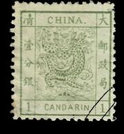 CHINA- RARE TIMBRE CANDARIN N° 1 DE 1878-  OBLITÉRÉ BON ÉTAT- COTE 500 E. -2 SCANS - Oblitérés