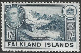 Falkland Islands. 1938-50 KGVI. 1/- MH. SG 158b - Islas Malvinas
