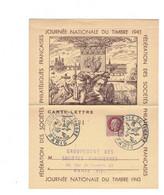 Journée Du Timbre 1943 Sur Carte Lettre - PARIS - YVERT N° 516 - ....-1949