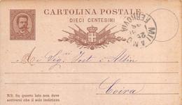 """9707""""INTERO POSTALE RE UMBERTO I-10 C.SPEDITO DA EDITORE SONZOGNO-MILANO -CARTOLINA SPEDITA 1881 - Stamped Stationery"""