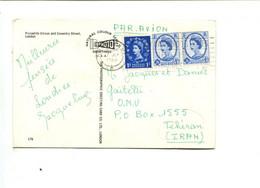 Affranchissement (Elisabeth 1 + 2x 4 D)sur Carte Postale à Destination De L'Iran (destination Peu Commune) - Covers & Documents