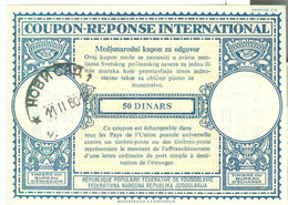 COUPON REPONSE INTERNATIONAL-IUGOSLAVIA  - JUGOSLAVIJA  - 50 DINARS - 1960 - MOD. LONDRA - RR - Enteros Postales