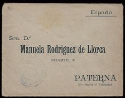 """1898 - Carta Circulada De Cuba A Paterna Con Franquicia Militar """"Regimiento De Infantería Tetuán"""" (violeta) - Franquicia Militar"""
