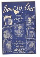 """Partition 4 Feuillets (vers 1940-50) -""""dans Ses Bras"""" P: Camille FRANCOIS M: Wal-Berg (Marianne Michel ...) - Music & Instruments"""