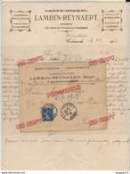 Lettre + Contenu En-tête Menuiserie Lambin Reynaert Armentières Nord Pour L.. Armurier Cuirassé Patrie Toulon Semeuse - Postmark Collection (Covers)