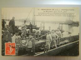 MONTJEAN      INONDATIONS DE DECEMBRE 1910  LE 6 ème GENIE TRAVAILLE A LA CONSTRUCTION D'UN PONT - Otros Municipios