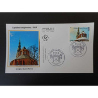 FDC Soie - Riga, L'église Saint-Pierre, Oblit 3/4/2015 Paris - 2010-....