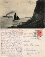 Postcard Bornholm Kystparti Ved Finnedalen - Dampfer 1909 - Denmark