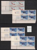 France - 4 Coins Datés Différents Yvert PA30, PA31 - 4 Different Corner Plates Air Post Scott#C29, C30 - 1950-1959