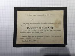 20BG - Carte Robert Delbart Né Laneffe Dcd 1939 - Overlijden