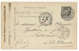 PARIS.103 Bloc Dateur Horaire R. Des FILLES Du CALVAIRE Sur Carte Postale Au Type SAGE Pour ST CLAUDE. - 1877-1920: Periodo Semi Moderno