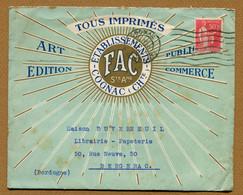"COGNAC : "" IMPRIMERIE "" FAC "" ""  (1935) - Postmark Collection (Covers)"
