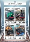 DJIBOUTI 2016 SHEET STEAM TRAINS A VAPEUR TRENES A VAPOR LOCOMOTIVES LOCOMOTORAS Djb16309a - Yibuti (1977-...)