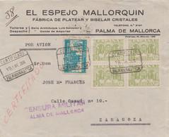 CERTIFICADO CON CENSURA - MALLORCA - 1931-50 Cartas