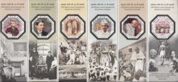 INDIA 2019 MINIATURE SHEET 150th Anniv Birth  Mahatma GANDHI, With 6 Octagonal Silver Bordered Embossed Stamps MNH(**) - Ongebruikt