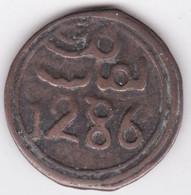 MAROC 4 Falus AH 1286 1869 Fès . Mohammed IV, En Bronze. C# 166.1 - Marocco