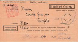 Slovenia SHS 1920 Postal Money Order With SHS Postage Due Stamp, Postmark VUZENICA - Slovenia