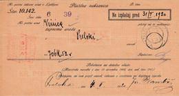 Slovenia SHS 1920 Postal Money Order With SHS Postage Due Stamp, Postmark VINICA - Slovenia