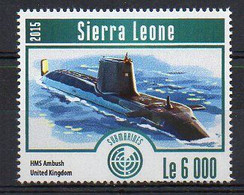 HMS Ambush, United Kingdom - Submarine Stamp (Sierra Leone 2015) - MNH (1W2033) - Submarines