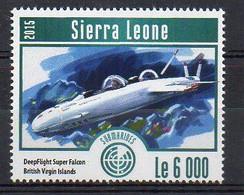 DeepFlight Super Falcon, British Virgin Islands - Submarine Stamp (Sierra Leone 2015) - MNH (1W2034) - Submarines
